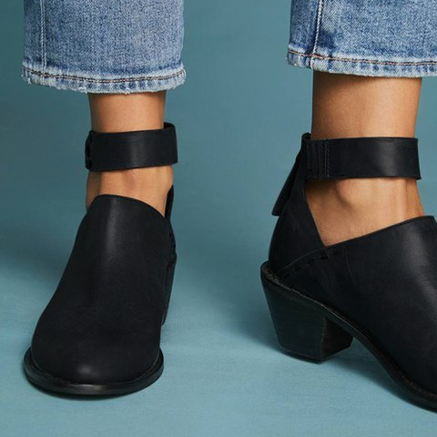 8d3293a557410 Women Plus Size Chunky Heel Booties Daily Zipper Boots ...