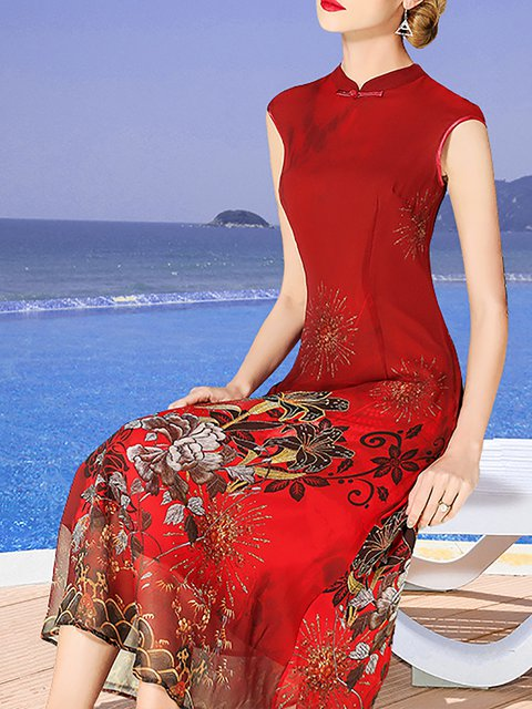Stand Collar Burgundy  Women Date Sleeveless Holiday Floral Elegant Dress