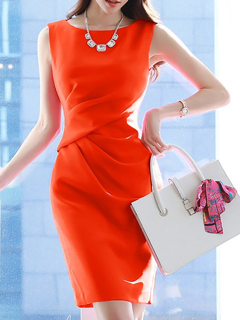 Paneled Women Elegant Solid Daytime Work Orange Dress Sleeveless w1dqAIPP