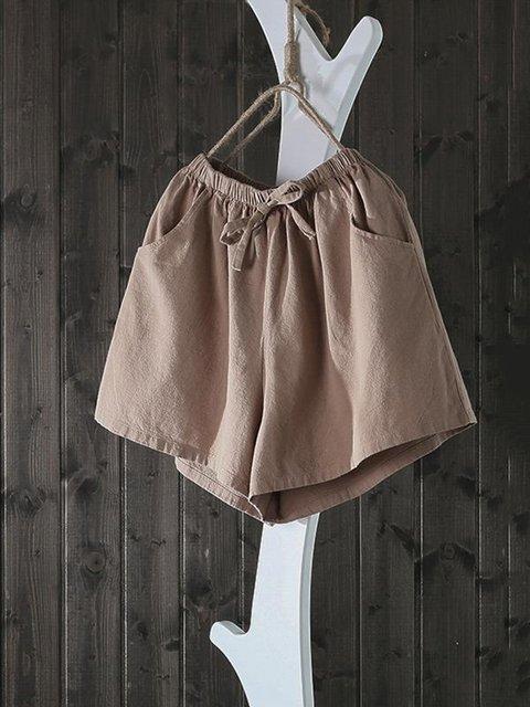 Casual Pockets Solid Shorts