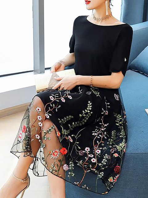Paneled Black Dress Casual Women Elegant Short Daytime Floral Sleeve nrwTrqxX84