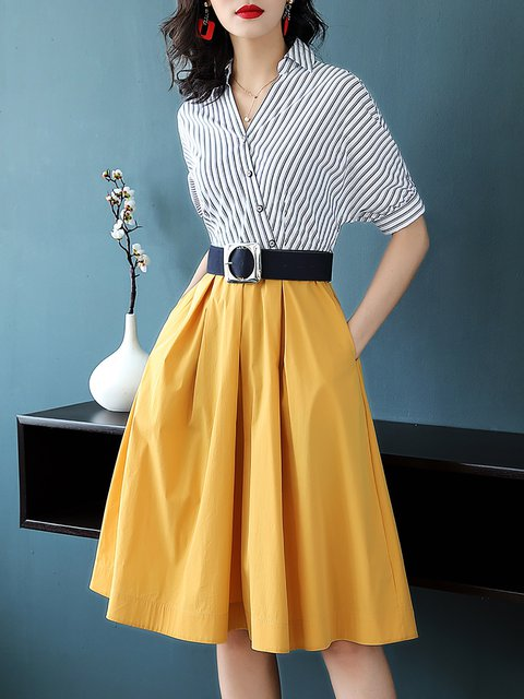 Sleeve Yellow Dress Party Collar Women Short Elegant Striped Stand xPzU1Xwq
