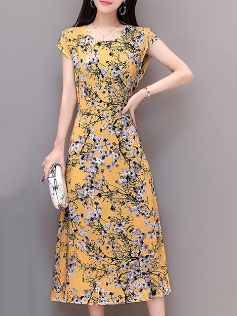 Floral Printed Short Elegant Sleeve Dress Casual Women Daytime qzw7UU