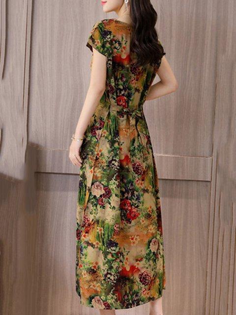 Floral Printed Short Elegant Sleeve Dress Casual Women Daytime qzw7UU