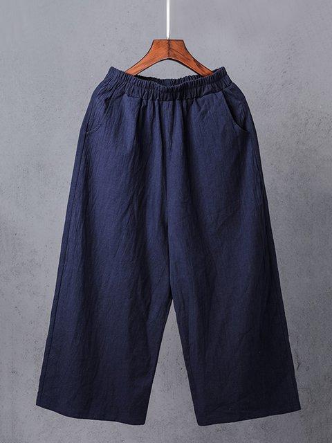 Solid Linen Pockets Cotton Plus Size Pants