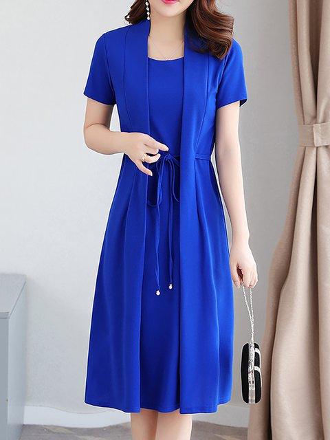 Women Short Sleeve  Solid Elegant Dress