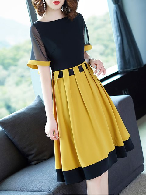 Black-Yellow A-line Women Daily Statement Short Sleeve Elegant Dress