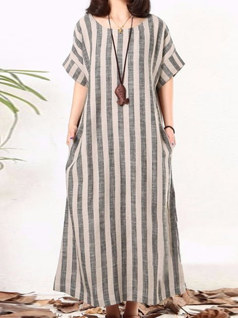 Gray  Women Daily Basic Cotton Paneled Striped Casual Dress