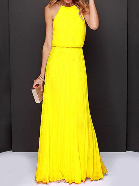 Halter  A-line Women Beach Sleeveless Chiffon Holiday Pleated Solid Prom Dress