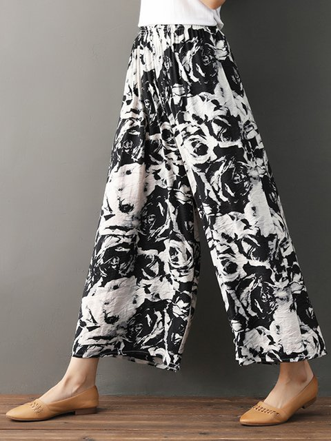 Printed Casual Cotton Linen Abstract Pants