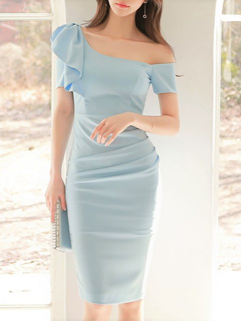One Shoulder Blue Bodycon Women Party Vintage Short Sleeve Elegant Dress