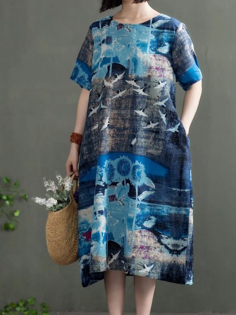 Women Daytime Casual Short Sleeve Printed Floral Casual Dress