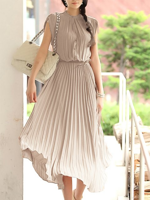 Stand Collar  A-line Women Date Sleeveless Work Pleated Solid Elegant Dress