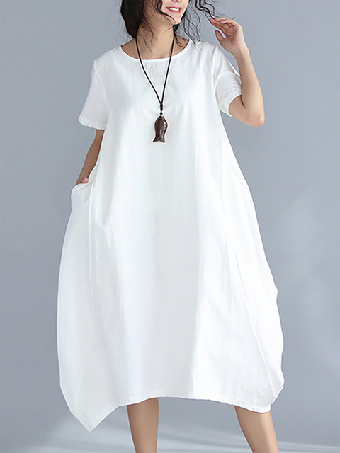Cocoon Women Daily Linen Short Sleeve Pockets Solid Casual Dress
