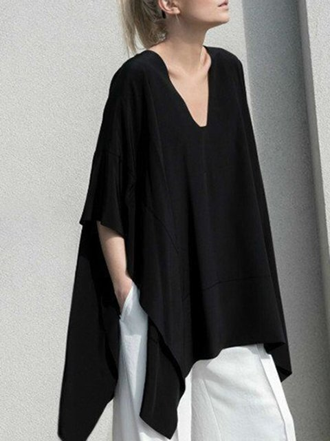Black Asymmetrical Casual V-Neck Cotton Batwing Blouse