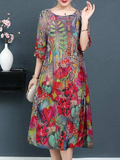 Plus Size Elegant 3/4 Sleeve Daily Dress