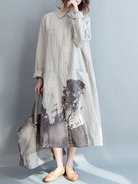 Shirt Collar  Shift Women Daily Long Sleeve Cotton Printed Abstract Casual Dress