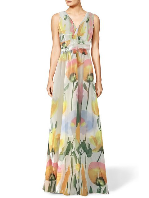 Surplice Neck Multicolor Women Beach Sleeveless Printed Floral Prom Dress