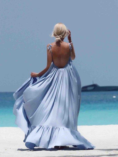 Swing Women Holiday Boho Spaghetti Backless Solid Summer Dress