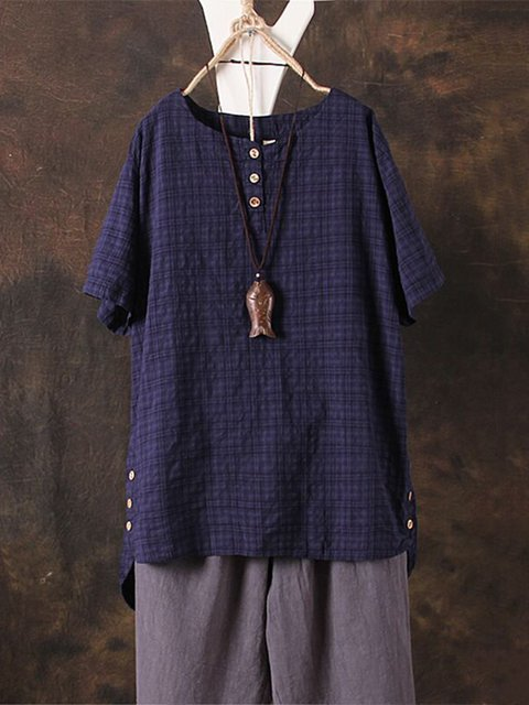Short Sleeve Solid Casual Linen Buttoned Plus Size T-Shirt