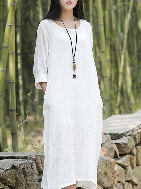 Women Daily Cotton Long Sleeve Slit Solid Casual Dress