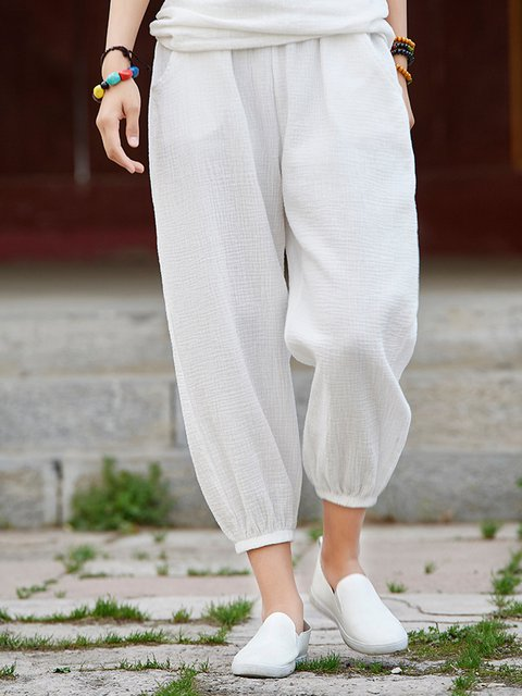 Casual Pockets Cotton Linen Solid Pants