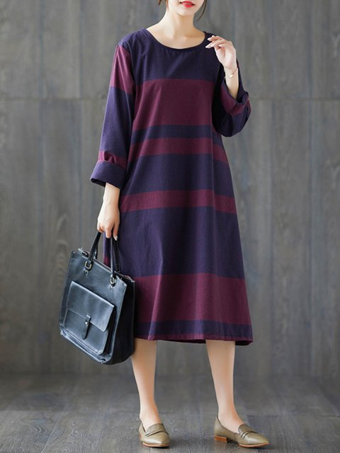 Navy Blue Shift Women Daytime Long Sleeve Cotton Color-block Casual Dress