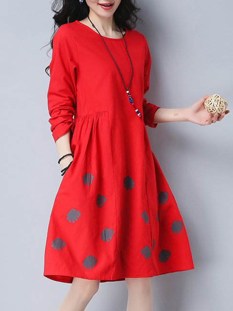 Shift Women Cotton Long Sleeve Pockets Casual Dress