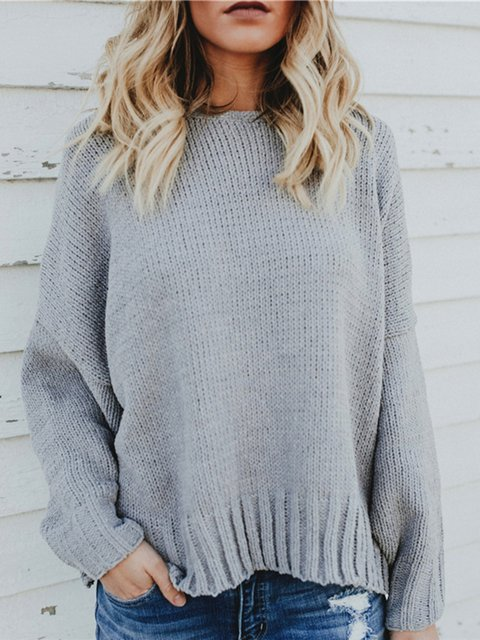 Backless Casual Cotton Solid Crew Neck Sweater
