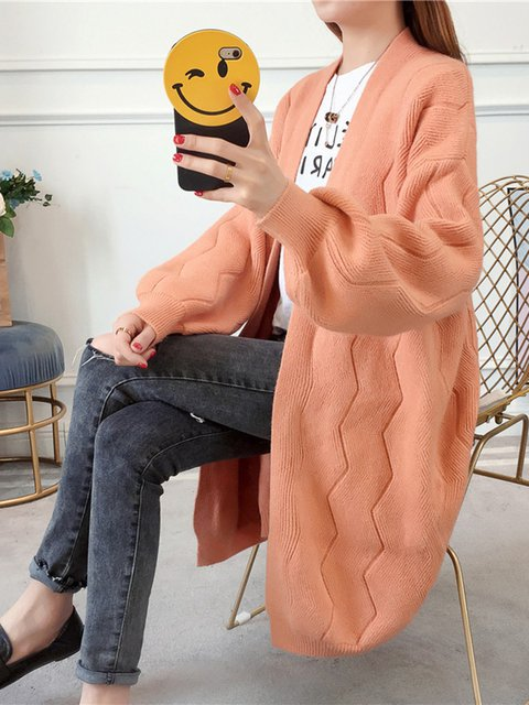Knitted Balloon Sleeve Casual Winter Solid Cardigan