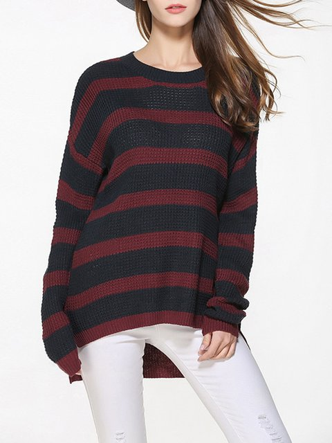 Sweater Sleeve Long Plus Crew Casual Neck Size 7wwqagF