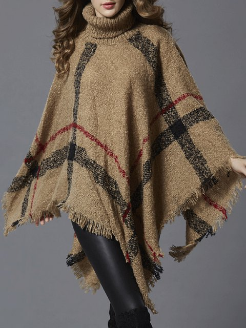 Cape Sleeve Turtle Neck Knitted Winter Checkered/Plaid Poncho