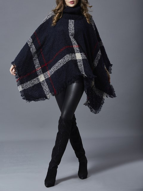 Cape Winter Plaid Sleeve Neck Knitted Turtle Poncho Checkered 4wa4rIZxq