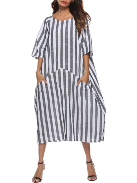 08791f86156 White Shift Women Daily 3 4 Sleeve Casual Paneled Striped Summer Dress