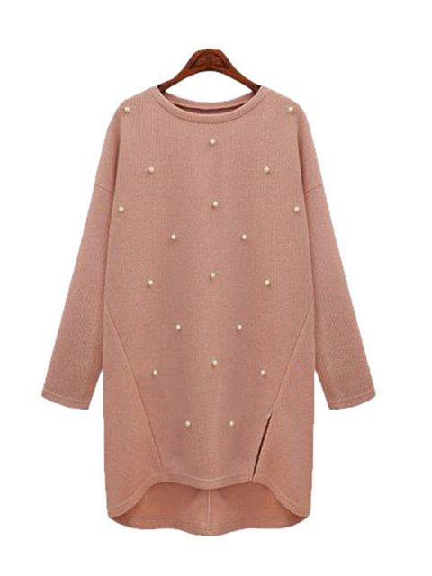 Acrylic Long Sleeve Slit Casual High Low Sweater