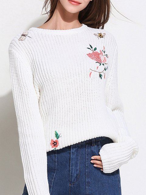 Cotton Casual Long Sleeve Floral Sweater