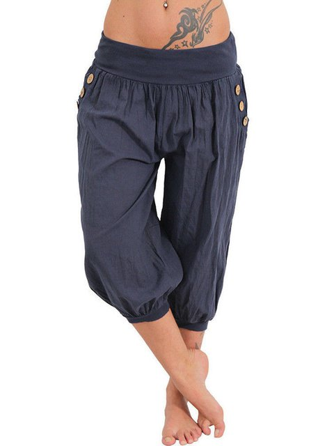 Casual Cotton Pockets Buttoned Plus Size Pants