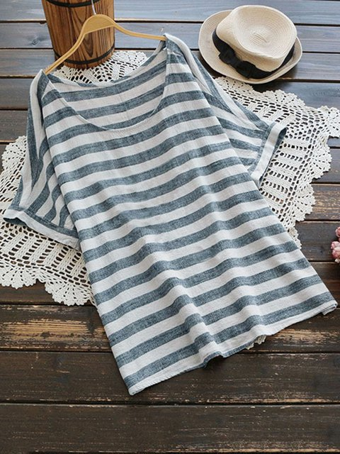 Gray Casual Striped Shirts & Tops