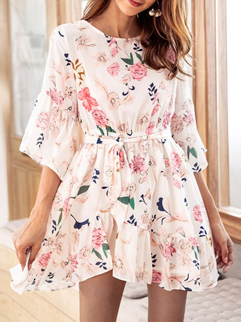Beige  Women Casual Chiffon Frill Sleeve Printed Floral Dress