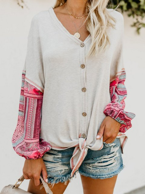 White Printed Casual V-Neck Knitted Long Sleeve Blouse