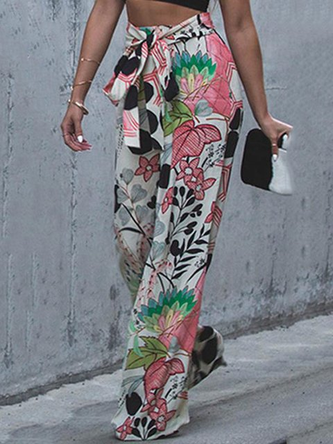 Multicolor Casual Abstract Printed Spandex Pants