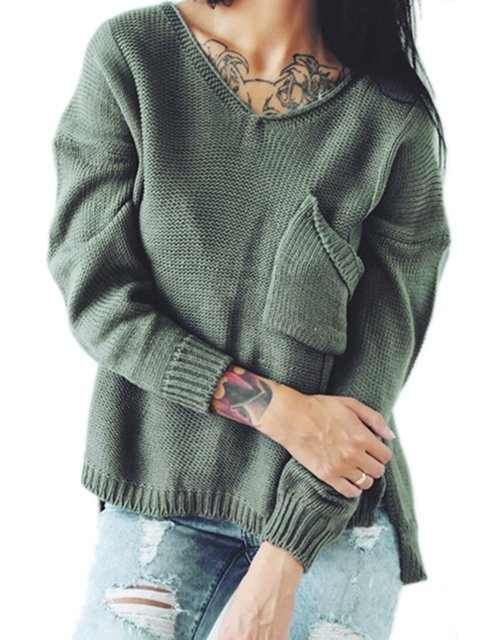 V Sweater Knitted Neck Pockets Casual Long Solid Sleeve xwfa6RO8