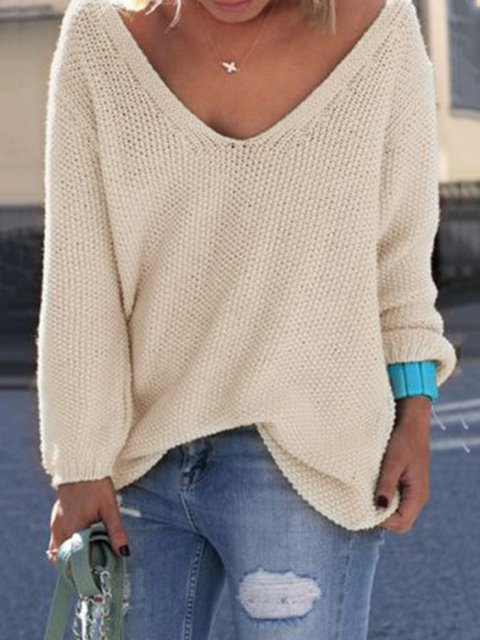 Casual Acrylic Long Sleeve V-Neck Knitted Sweater