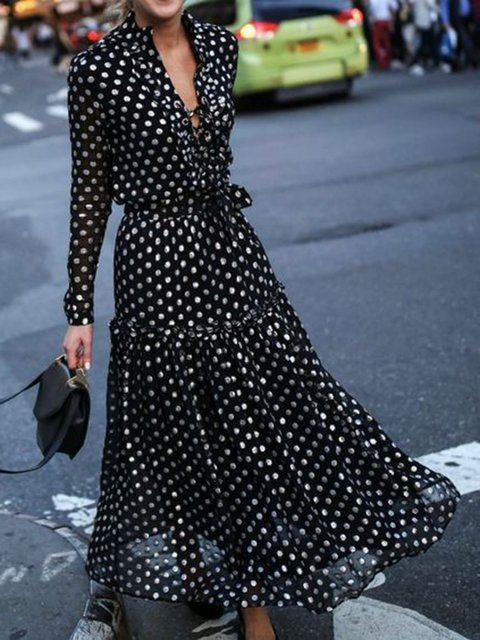 V-Neck Black Swing Women Date Chiffon Long Sleeve Elegant Paneled Polka Dots Prom Dress