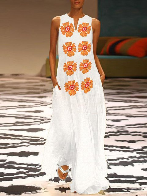 Plus Size Women White Beach Holiday Sleeveless  Floral Dress