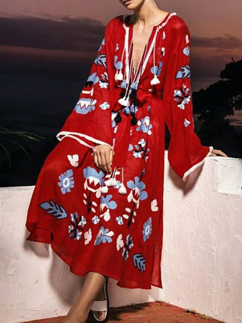 Red Women Daily Casual Bell Sleeve Cotton-blend Printed Floral Spring Dress