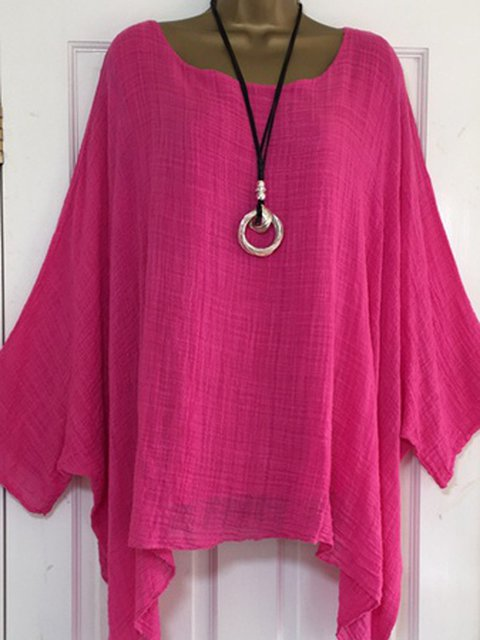 Crew Neck Solid Casual Batwing Plus Size Blouse