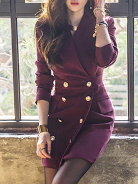 Lapel Purple Women Spring Dresses Bodycon Daily Pockets Dresses
