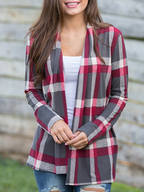 Cotton-blend Casual Checkered/Plaid Blouse