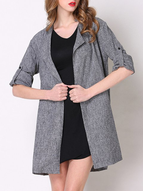 Size Shawl Collar Work Solid Plus Cardigan Slit Gray ntqwYECE